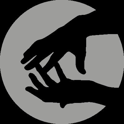 Icon mit skizzierten Händen, die eine osteopathische Behandlung andeuten
