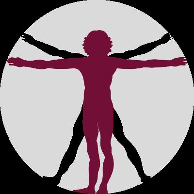 Icon mit einem skizzierten Vitruvian Man von Leonardo da Vinci als Symbol für die Osteopathie